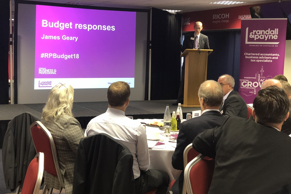 Photo of James speaking at Randall & Payne's Budget Day event