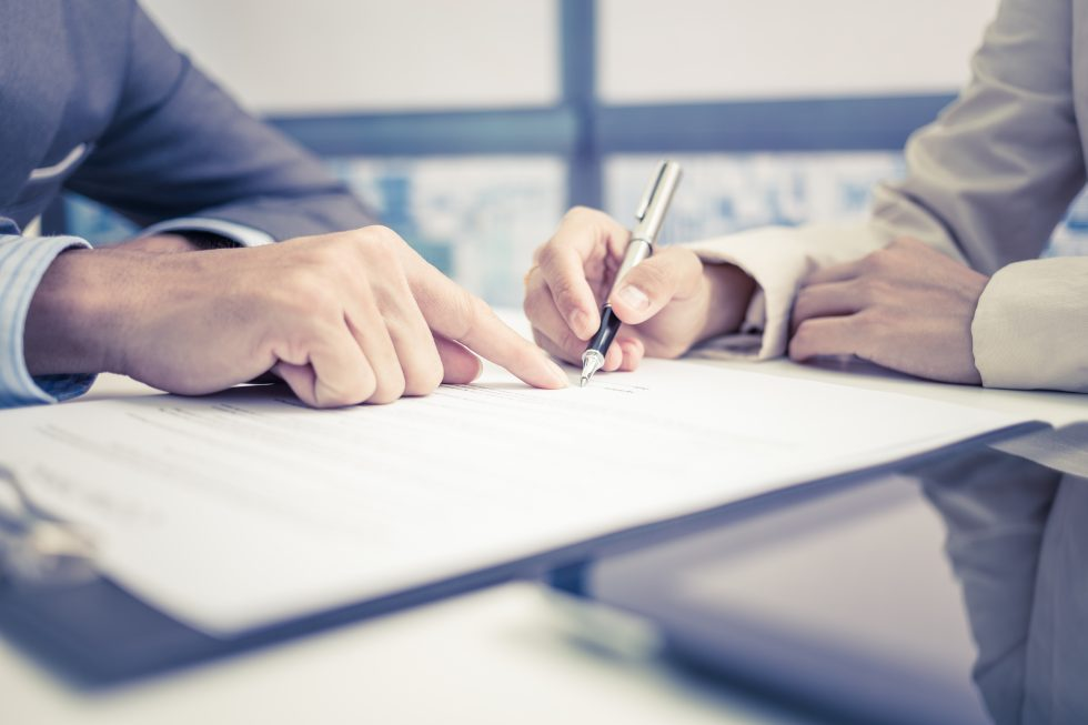 Signing documents - preparation for sale