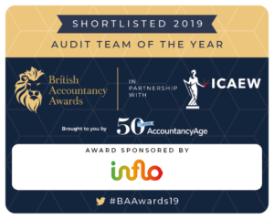 British Accountancy Awards 2019 Shortlist Badge Audit Team of the Year
