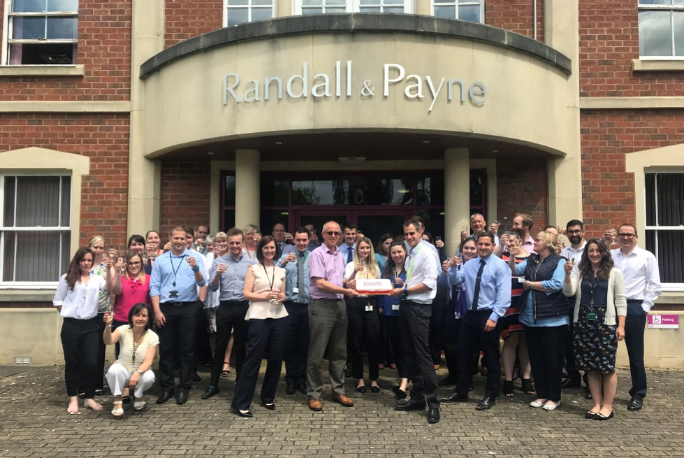140th birthday toast in front of the office July 2019
